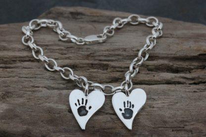 Handprint heart charm bracelet