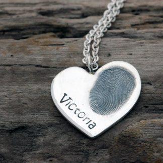 Large fingerprint heart pendant by Silver Paws
