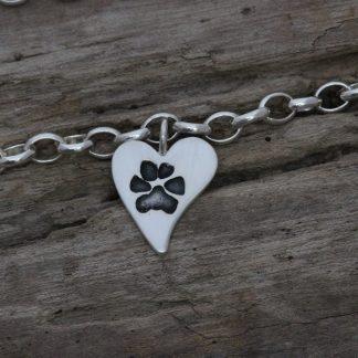 Silver Paw print bracelet by Silver Paws