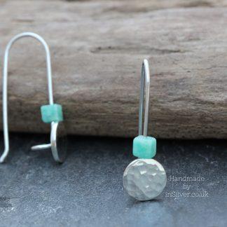 Chinese Amazonite glitter hammered threader earringsa