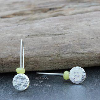 Yellow Kyanite hammered earrings